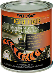 Tiger Hair Long Strand Body Reinforced Fiberglass Filler Evercoat 1 Quart 1189
