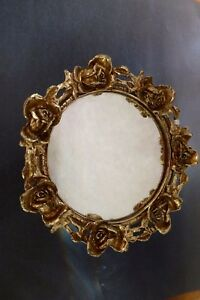 Vanity Mirror W Stand Gold Plated Vintage
