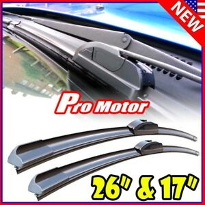 26 17 Oem Quality Bracketless Windshield Wiper Blades J Hook Pair All Season
