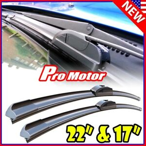 22 17 Oem Quality Bracketless Windshield Wiper Blade J hook Pair All Season