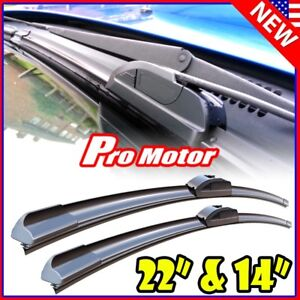 22 14 Oem Quality Bracketless Windshield Wiper Blade J hook Pair All Season
