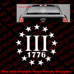 Iii 3 3 Percenter 1776 1911 Sticker Die Cut Decal Vinyl 2a Gun Rights Fa065
