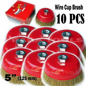 10 Pc 5 X 5 8 Arbor Fine Crimped Wire Cup Wheel Brush For Angle Grinders