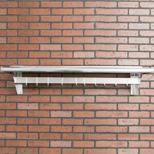 12 X 48 Stainless Steel Wall Mounted Pot Rack With Shelf And 18 Hooks