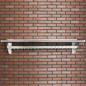 15 X 60 Stainless Steel Wall Mounted Pot Rack With Shelf And 18 Hooks