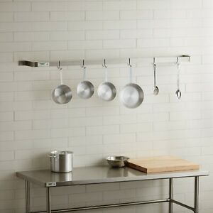 72 Wall Mounted Restaurant Stainless Steel Single Line Pot Rack With 6 Hooks