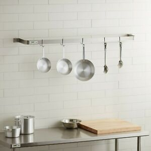 60 Wall Mounted Restaurant Stainless Steel Single Line Pot Rack With 5 Hooks