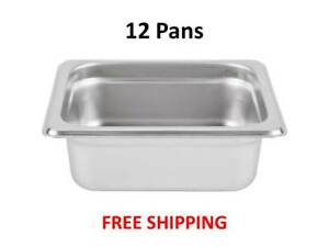 12 pack 1 6 Size Stainless Steel Silver Steam Table Hotel Pans 2 1 2 Deep
