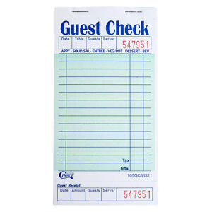 1 Part Green And White Guest Check With Bottom Guest Receipt 50 Books Case