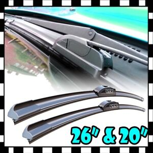 New 26 20 Premium Bracketless Windshield Wiper Blades J hook Pair All Season