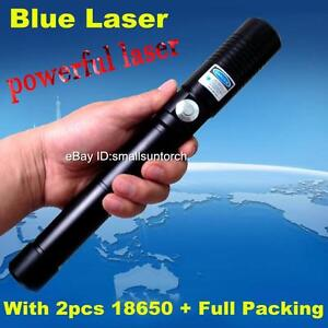 Most Powerful Burning Blue Laser Pen Focusable Blue Laser Pointer Torch 2x18650