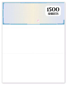 Blank Check Stock High Security Visible Fibers 1500 Sheets Blue Prismatic
