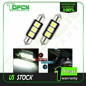 2x 36mm Canbus Error Free 3 Led 5050smd 6418 White License Plate Dome Light Bulb