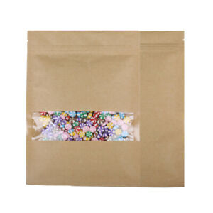 100 Flat Brown Kraft Ziplock Bags With Clear Window 14x20cm 5 5x7 75in A137