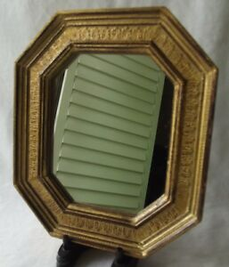 Vintage Italian Gold Gilt Florentine Toleware Octagon Shaped Mirror 6 3 4 T