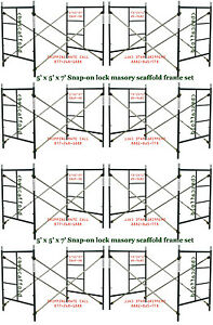 Eight Set Of New 5 X 5 X 7 Masonry Scaffolding Frame Set Cbm Scaffold