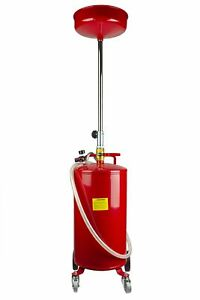 20 Gallon Portable Oil Drain Lift Air Operated Auto Maintenance Waste Tank