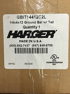 Harger Gbit14412c 2l 1 4x4x12 Ground Bar With Tail