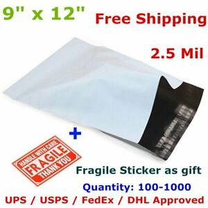 100 1000 9 X 12 Poly Mailers Shipping Envelope Self Sealing Plastic Bags 2 5 Mil