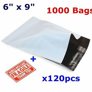 1000 Self Sealing 6x9 White Poly Mailer Bags Shipping Mailing Envelopes 2 5 Mil