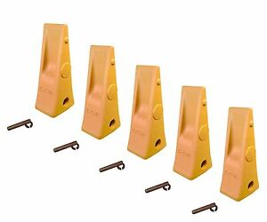 5 Cat Style Backhoe Loader Bucket Dirt Teeth W Pins Retainers 1u3252