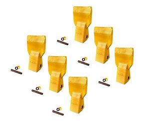 6 Cat J250 Style Bucket Flare Teeth W Pins Retainers 3g 8250 208 5254
