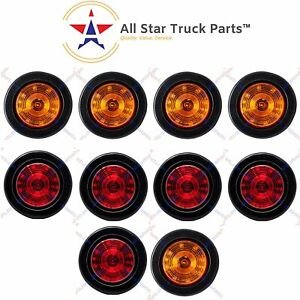 2 5 Round 12 Led Light Truck Trailer Side Marker Clearance Kit 5 Red