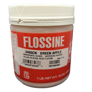 Gold Medal Cotton Candy Flossine 1 Pound Jar Green Apple