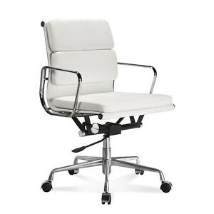 Mid century Design Soft Pad Mid Back White Genuine Leather Conference Chair