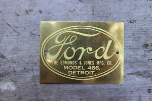 Ford the Edmunds Jones Mfg Co Model 466 Detroit Tag Good Condition