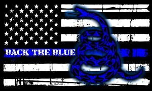 Thin Blue Line Flag Don t Tread On Me Tattered Flag Police Decal Various Sizes