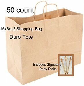 50 Paper Retail Shopping Bags Kraft With Rope Handles 16x6x12