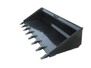 Skidsteer Quick Attach Long Bottom Dirt Bucket With Teeth Free Shipping