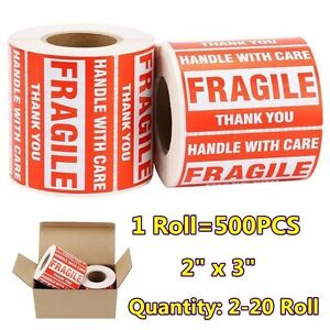 2 20 Rolls 2x3 Fragile Sticker Handle With Care Thank You Mailing Label 500 roll
