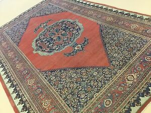 9 X 14 Antique 1880 S Persian Bijar Oriental Rug Hand Knotted Reddish Rust