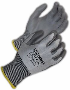 Ce Cut Resistant Level 4 ansi Cut Level 3 Grey Pu Palm Coated Gloves 12 Pairs