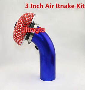 3 Inch Blue Piping Turbo Short Ram Cold Air Intake Induction Pipe Filter Kit