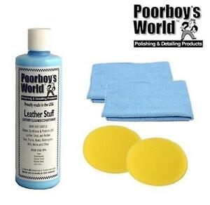 Poorboys Leather Stuff Cleaner Conditioner Car Seat 2 Free Cloths Pads