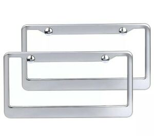 2pcs Sliver Metal Stainless Steel License Plate Frames Screw Caps Tag Cover Us