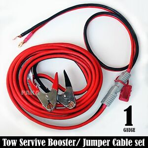 Professional 1 Gauge 24 Ft Quick Disconnect Jumper Booster Cable Set Tow Serv