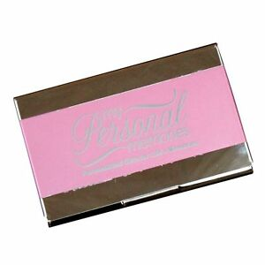 Personalized Pink Business Card Case Holder Custom Engraved Office Gift