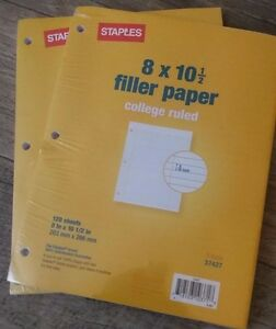 New Pack Of 2 stamples 8x10 5 Filler Paper College Ruled 3 hole 37427 120x2