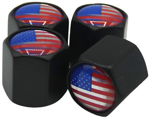 4x American Flag Wheel Tire Valve Cap Stem Cover For Car Bike Trucks