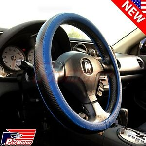 3d Blue Black Carbon Fiber Style Leather Steering Wheel Cover Protector Slip on