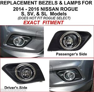 Replacement Fog Lights For 2014 2015 2016 Nissan Rogue S Sv Sl Lamps Bezels