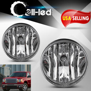 For 2007 2013 Gmc Sierra 1500 2500 Hd 3500 Hd Clear Bumper Fog Lights Lamps Pair