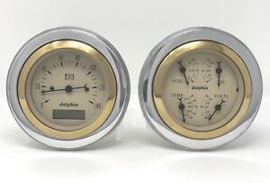 1951 1952 Chevy Car 3 3 8 Quad Style Gauge Set Dash Panel Cluster Insert Gold