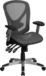 Mid back Gray Mesh Executive Swivel Office Chair W back Angle Height Adjustment