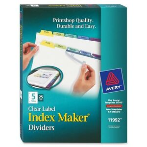 Avery 5 colored Tabs Presentation Divider Ave11992