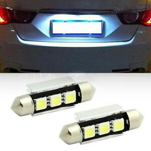 2x White 6000k Canbus No Error Festoon 3 5050 Smd License Plate Lights For Bmw